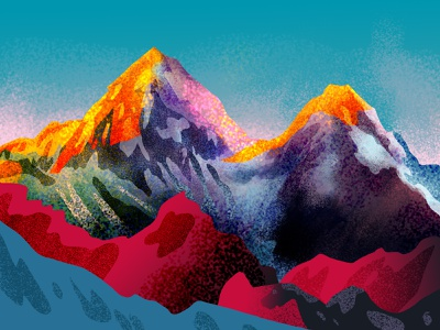 misty mountains bright illustration mountain