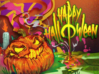 Halloween Adventure 🎃 game post card horror toxic psychobilly psychadelic spooky magic pumpkin halloween lettering typography logo illustration