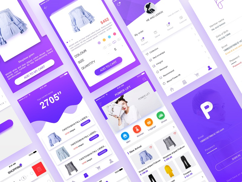 Power Lift app design_02 llustration shopping ux ui icon design app