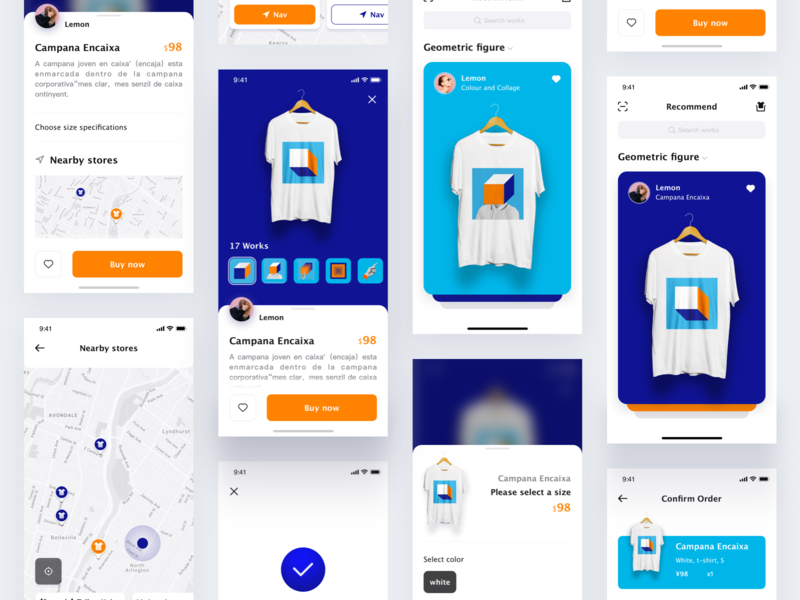 T-shirt store app print app ux cascading payment completed pull up t-shirt map animation orange digitalart brand pattern color ios card