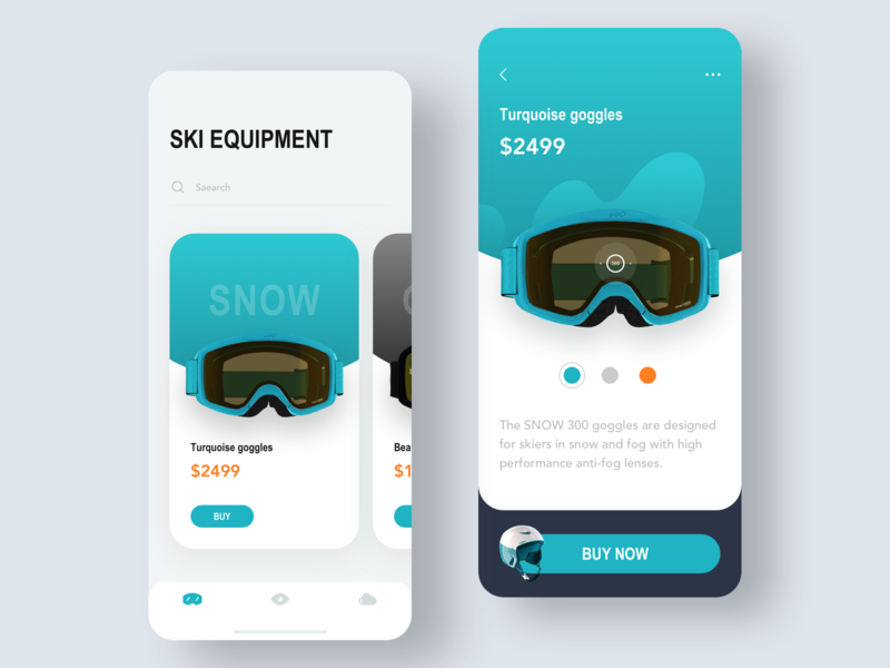Ski equipment concept 01 e-commerce helmet 用户界面 slider product transition online store icon ux card interaction glasses ski equipment concept 3d