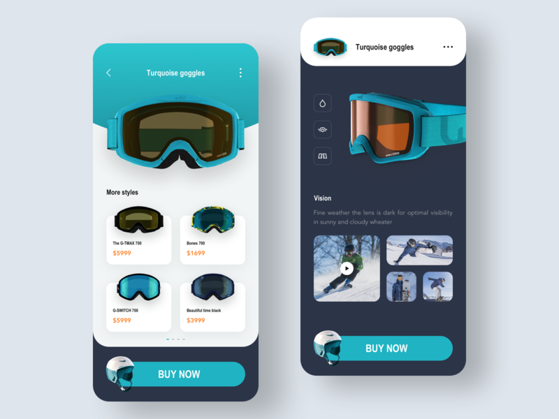Ski equipment concept 02 concept product transition online store interaction details buy pull up more styles iphonex ios ui ux card 3d