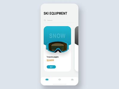 Ski equipment concept Animation helmets buy principle animation product transition online store interaction helmet glasses ski goggles e-commerce 3d ui ux card