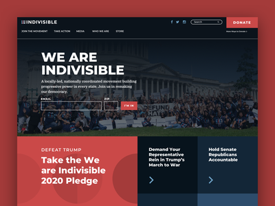 Indivisible Homepage capitol dark call to action united states american navigation home politics advocacy election form homepage political america collage blue white red typography website