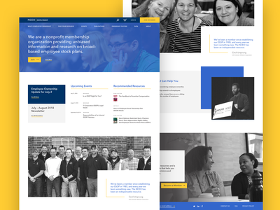 National Center for Employee Ownership Website library information design membership ecommerce research stock employee identity navigation form nonprofit typography cart product black and white yellow blue website news member