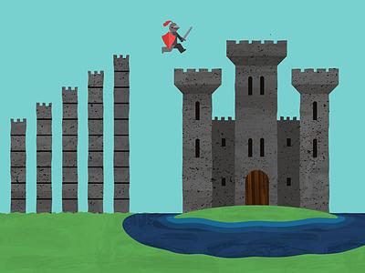 Castle Climber atendesigngroup aten children kids shield sword tower island castle knight illustration game