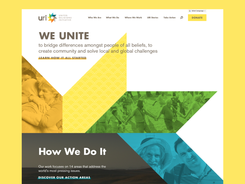 United Religions Initiative Homepage ux logo ui trapezoid homepage nonprofit rainbow yellow design website atendesigngroup aten