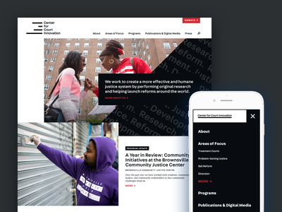 The Center For Court Innovation Homepage offset grid publication news ux new york ui court justice nonprofit homepage mobile typography website atendesigngroup aten