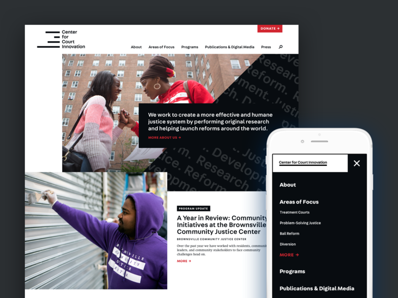 The Center For Court Innovation Homepage ux new york ui court justice nonprofit homepage mobile typography website atendesigngroup aten