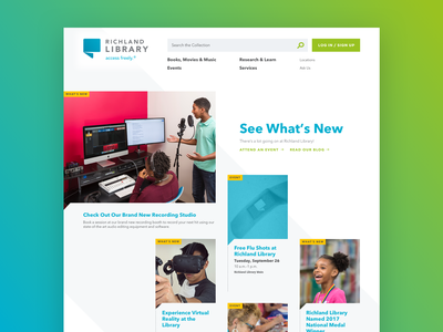 Richland Library Homepage card ui event book government redesign columbia south carolina library animation website aten