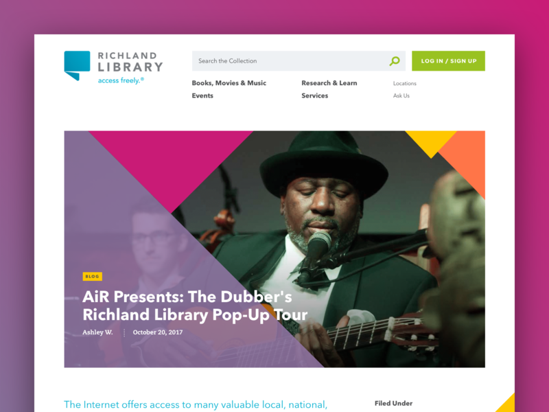 Richland Library Blog Post Detail Page navigation label vector typography design musician avenir yellow orange purple pink triangle blog library website aten