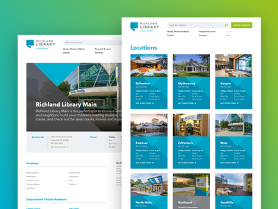 Richland Library Location Pages open typography vector detail address hours contact branch location blue triangle card library website aten