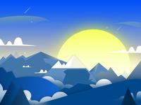 Blues landscape illustration