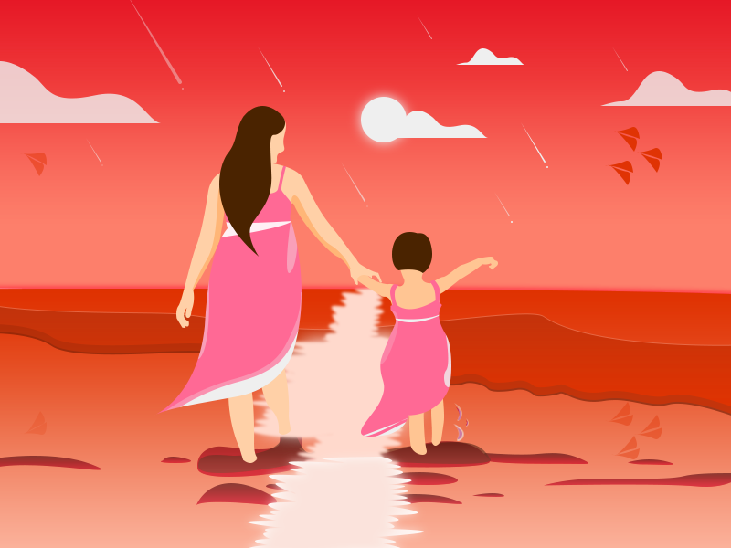 61 Happy Children's Day (Sunset illustration) inspiration creative girl woman red sunset illustration happy childrens day 61