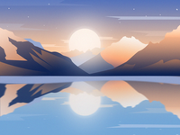 Landscape illustration, sunrise