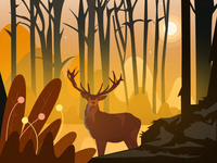 Deer landscape illustration