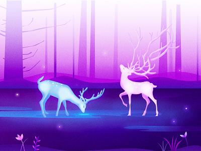elk illustration illustration design vector forest colour illustration