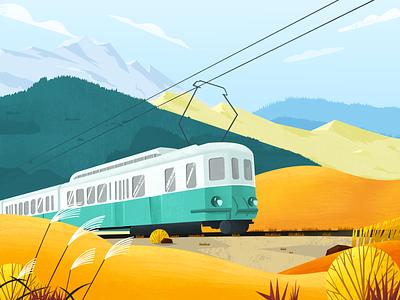 illustration Autumn train fall design illustration design color illustration
