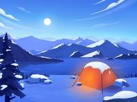 Snow scene illustration