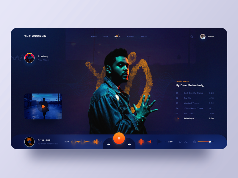 The Weeknd album melancholy the weeknd music player music webdesign ui