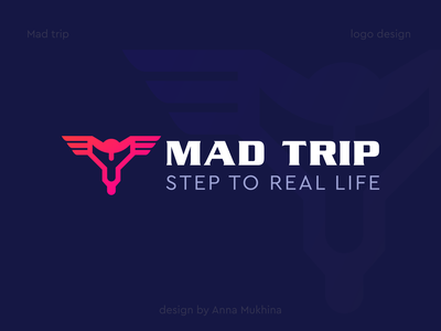 Logo design for Mad trip - step to real life branding logo design logodesign motobike bike traveling trip logotype mad madtrip logo design annamukhina