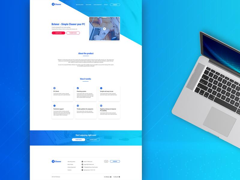 BCleaner - PC Cleaning Tool clean design minimalistic design uxui design web design