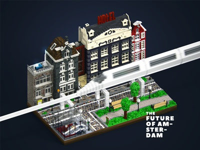 The future of Amsterdam. Voxel art amsterdam city apple future magicavoxel art voxel