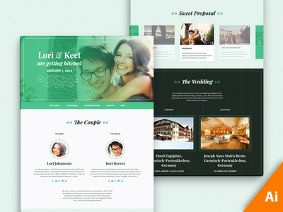 Freebie AI: Lovebird, One-Page Wedding Template rsvp form gift registry bridal party wedding proposal ai css html template modular scale one-page wedding freebie