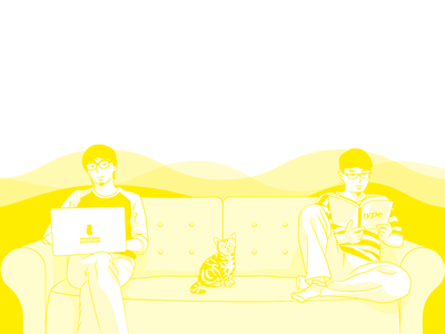 Hero Illustration chill hero image yellow cat illustration