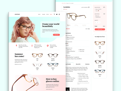Muatamu, Online Glasses Retailer product page store pastel retail sunglasses contact lens glasses
