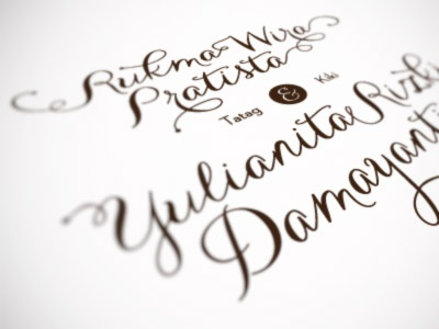 Carolyna type wedding invitation lettering bokeh