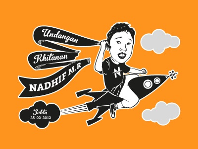 Circumcision illustration circumcision invitation rocket ribbon partyretro orange indonesia