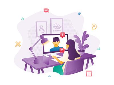 1-on-1 Design Mentorship illustration soqola ux ui mentor mentorship education learning design school course