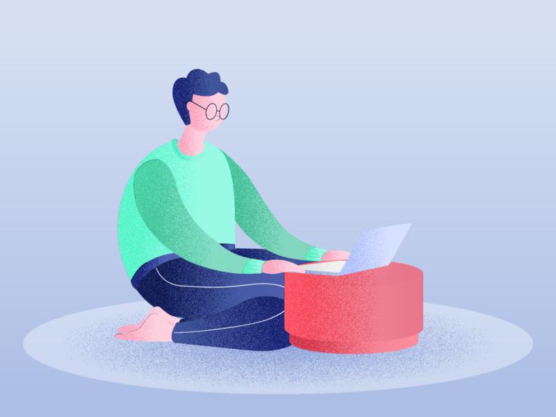 Working boy illustration for a landing page remotework noise illustration home office boy laptop boy illustration boy