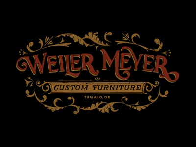 Weiler Meyer Custom Furniture vintage logo flourish logo furniture logo