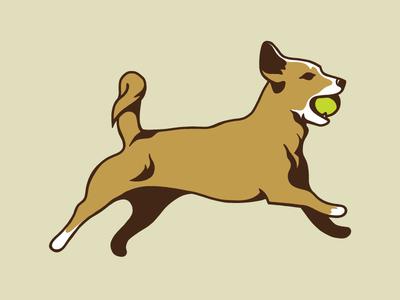 Wag Bend Logo Killed dog logo illustration tennis ball logo dog
