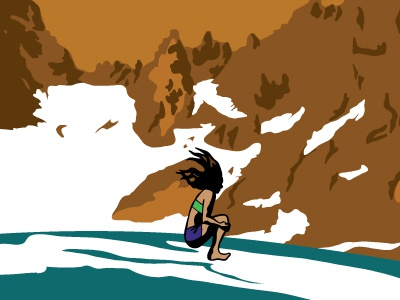 Big Reveal This Summer girl jump lake illustration cannonball