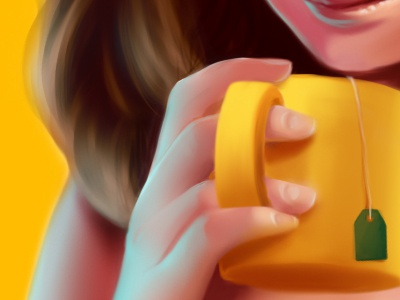 Care for some green tea? illustration sai photoshop digital painting green tea tea cup brunette missjosh