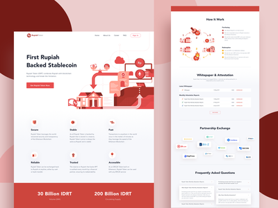 RupiahToken Website web design trading illustration bitcoin indonesia crypto wallet cryptocurrency website landing page finance