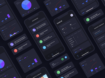 Covid-19 App - Dark Version healthcare health dark mode dark ui application mobile app virus corona covid19