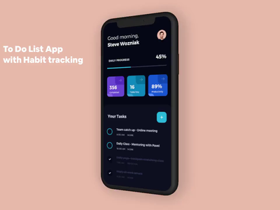 Daily Task - Application app ios app minimalism task management task manager product attlasian jira trello project management to do list daily task productivity dashboard