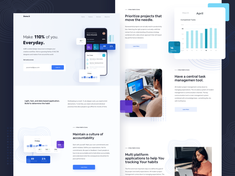 Doneit Landingpage app minimalism daily task daily ui remote work to do app landing page website dashboad jira trello project management task management task manager