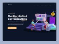 Convertion Ninja Landing Page conversion marketing startup 3d minimalism saas landing page website