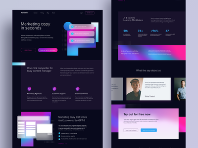 Artificial Intelligence Copy Writing Website Dark Mode content marketing gradient minimalism landing page blog marketing website writer copywriter artificial intelligence copy copywriting