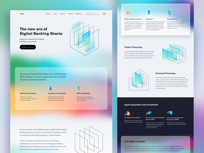 Sharia Bank Landing Page Gradient #Exploration gradient colorful crypto wallet cryptocurrency crypto sharia illustration branding dashboard landing page economy bank app banking corporate bank finance website