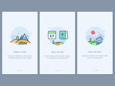 User Onboarding Screen book airbnb backpacker travel home rent illustration onboarding