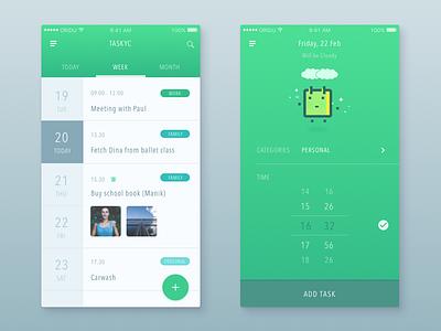 Task Manager App manager todo tasks scheduler reminder organizer minimal meeting calendar agenda app mobile