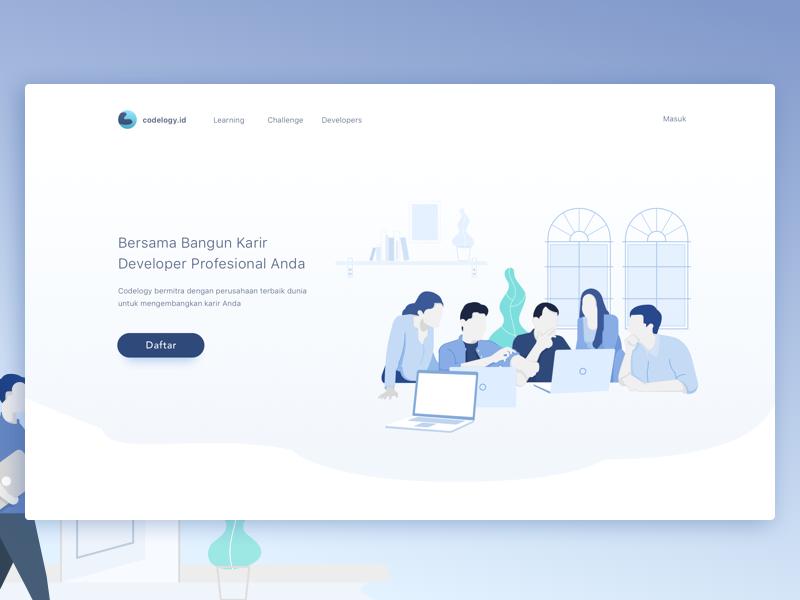 Illustration for Education Platform Website header vector programmer page landing illustration icon homepage flat code