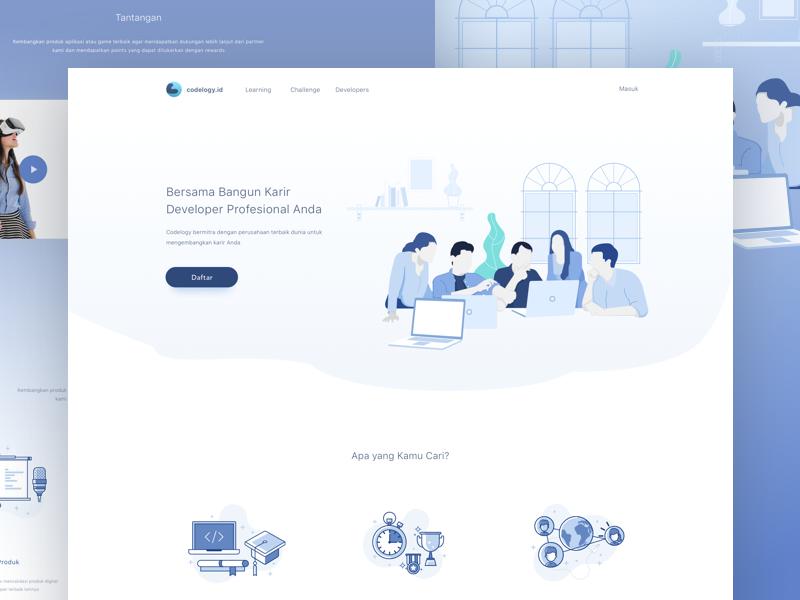 Education Platform Website platform header flat code