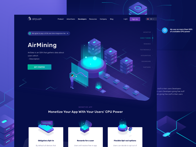 Airpush - Mining, a Cryptocurrency Website bitcoin stats statistics fintech financial finance dashboard cryptocurrency chart bank